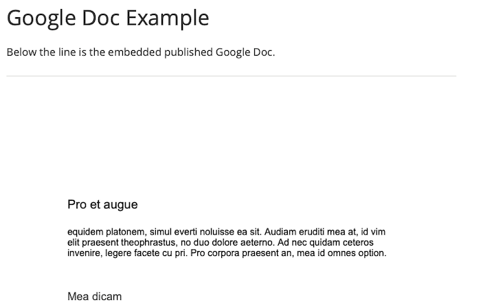 an example of a google doc embedded in a page. the image shows the page title, and then some body text, and then the google doc below that.