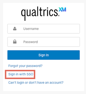 qualtrics sign in with sso highlighted
