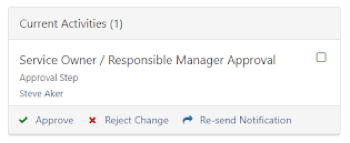Service Owner/Responsible Manager approval task on a change ticket
