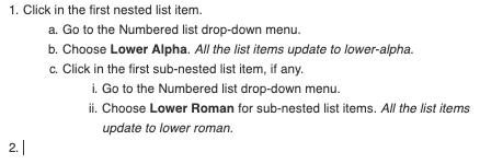 sample nested numbered list