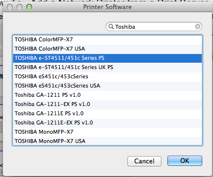 The Printer Software window is open with 'Toshiba' written in the search bar an example printer highlighted.