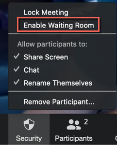 Zoom Security menu. Lock meeting, enable waiting room (highlighted), Allow participants to: share screen, chat, rename themselves.