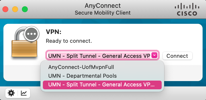 Cisco AnyConnect Client VPN dropdown options displayed.