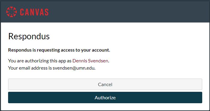 Authorize Canvas to allow Respondus to publish to it.
