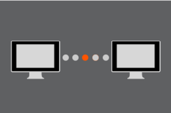 Window displaying 2 monitors separated by 5 dots that indicate the 2 computers are connecting