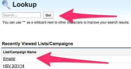 The Lookup screen for Lists/Campaigns