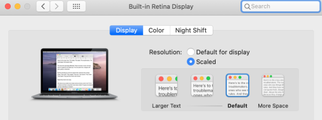Mac Display settings. Scaled selected with text options. Default highlighted, with Larger text option visible.
