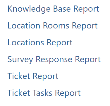 List showing report types
