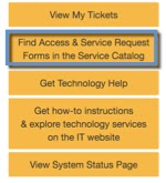 "Client portal Home menu. Option ""Find Access & Services Request Form in the Service Catalog"" highlighted"