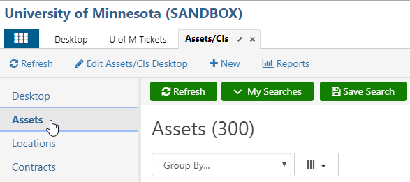 The Assets option in the left navigation area of the Assets/CI app