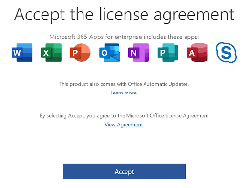 """License Agreement window. Message """"By selecting Accept, you agree to the Microsoft Office License Agreement"""" with a link to View Agreement and an Accept button."""