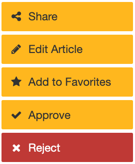 editor buttons: share, edit article, add to favorites, approve, reject