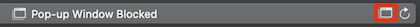 "Safari location bar says ""Pop-up window blocked."" Window icon highlighted."