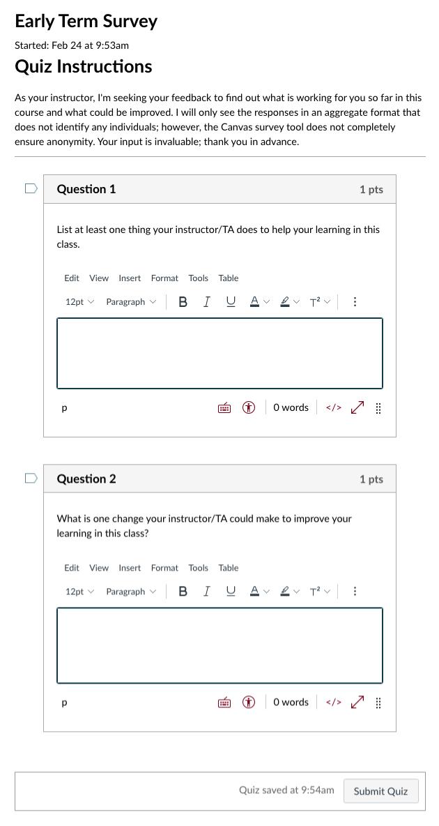 Early Term Survey Quiz interface