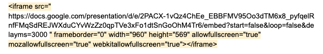 the html embed code.