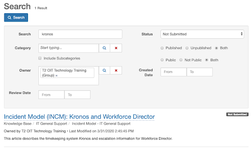 """Example search for term """"Kronos."""" Status: Not submitted. Both selected for Published or Unpublished. Both selected for Public or Not Public. Owner group chosen. Matching article displayed."""