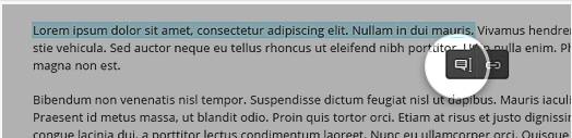 A screenshot with text highlighted and the The Annotation icon highlighted