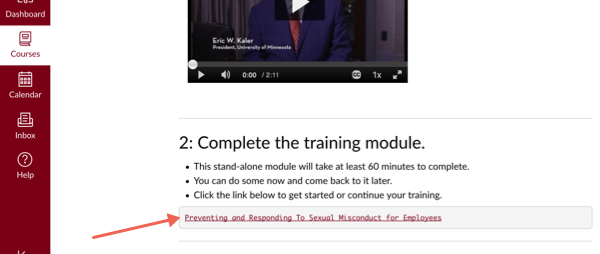 Bottom of training home page with arrow pointing to Preventing and Responding to Sexual Misconduct link
