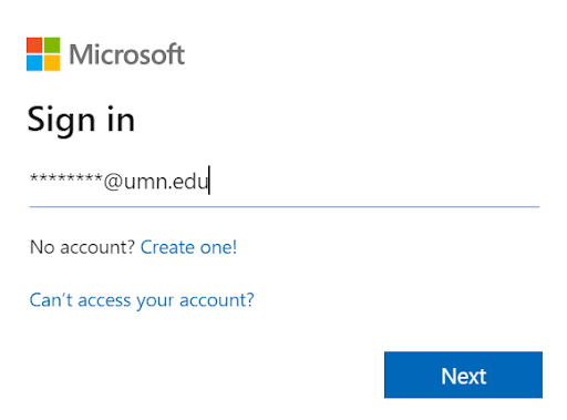 Microsoft Sign In page with the username filled in with an example UMN email formatted as InternetID@umn.edu